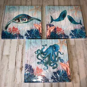 35x35x1 Ocean Sea Underwater Canvas Set